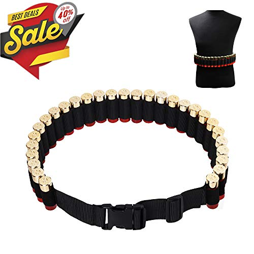 CS Force Shotgun Shell Bandolier Belt 12/20 Gauge Ammo Holder for Tactical Military Hunting(29 Rounds, 51.2'' x 1.98'') Black (Bandolier Belt)