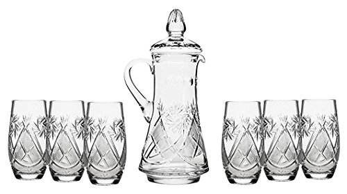 Set of 7 50-Oz Hand Made Vintage Cut Crystal Beverage Carafe with 6 Tumblers, Russian Crystal Pitcher Set, Old-fashioned Glassware ()