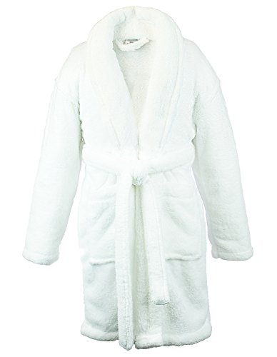 (BC BARE COTTON Kids Microfiber Fleece Shawl Robe - Girls - White - XLarge)