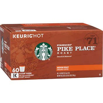 Starbucks Pike Place Coffee, Medium, Keurig K-Cups, 60 - Squared 60