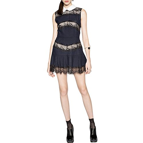 XXL Bodycon Slim Dress Lapel Sleeveless Womens Short Pleated Summer Lace XS Mini Black q4wRWU