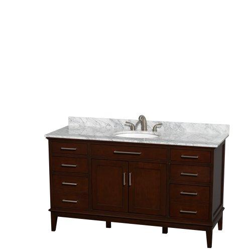 Wyndham Collection Hatton 60 inch Single Bathroom Vanity in Dark Chestnut, White Carrera Marble Countertop, Undermount Oval Sink, and No Mirror