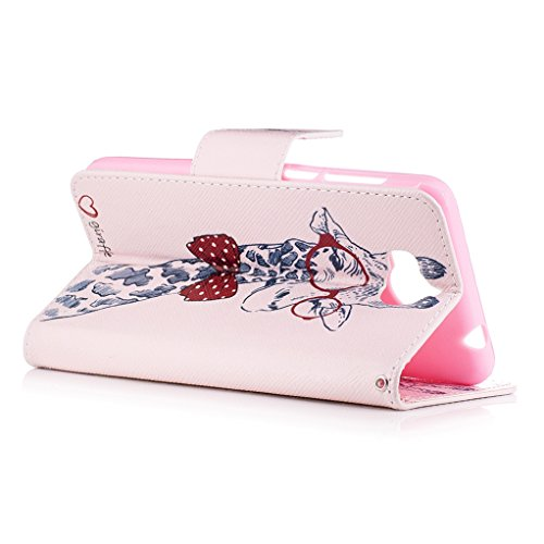 Trumpshop Smartphone Carcasa Funda Protección para Huawei Y5 II + Gatos + PU Cuero Caja Protector Billetera con Cierre magnético [No compatible con Y5] Jirafa