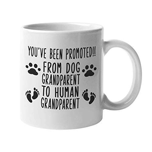 Baby Reveal Mug, Pregnancy Announcement Gift, Dog Grandparent to Human Grandparent Mug