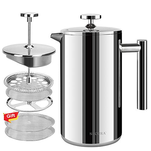 Secura French Press Coffee Maker, 304 Grade Insulated Stainless Steel Coffee Press, Dishwasher Safe, Extra 2 Filters Included, 50oz (1500ML)