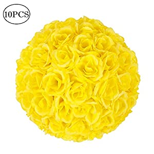 iziromantic 10 Inch Artificial Satin Flower Ball Romatic Wedding Flower Balls Kissing Balls Bouquet for Bridal Wedding Party Ceremony Centerpieces Decoration(10 Pack,Yellow) 12