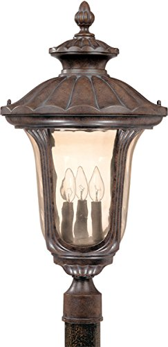 Outdoor Post Light 3 Light With Fruitwood Finish Aluminum Die-casting Candelabra Base 14 inch 180 Watts