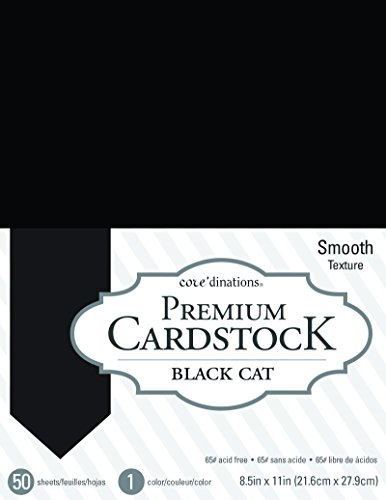Black Card Stock (American Crafts Black Cat Core'dinations 8.5 x 11 Inch Value Pack 50)
