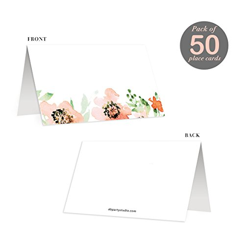 """Pack of 50 Table Place Cards Orange Floral All Occasion Assigned Seating Placecards Scored Folded Tented 3.5"""" x 2"""" Generous Writing Space Baby Shower Woman's Milestone Birthday Retirement"""