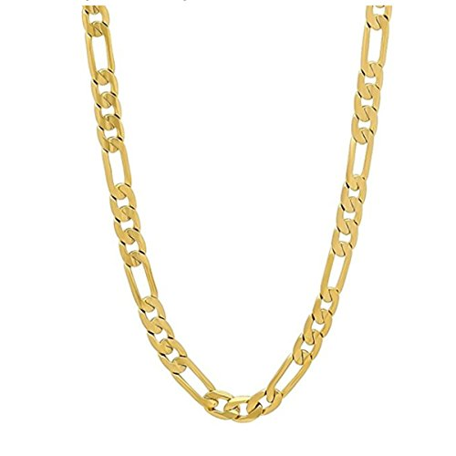 Mens Womens 14k Gold Plated 3mm Italian Figaro Link Chain Necklace (20 inches) (Figaro Chain Italian Link)