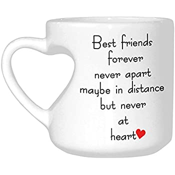 InterestPrint White Ceramic Best Friends Long Distance Heart-shaped Travel Coffee Mug Cup with Sayings, Best Friends Forever Never Apart Coffee Mug Mom Funny Unique Birthday Mother's Day Gifts