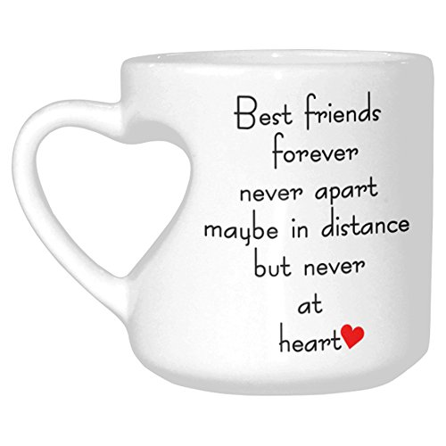 InterestPrint White Ceramic Best Friends Long Distance Heart-shaped Travel Coffee Mug Cup with Sayings, Best Friends Forever Never Apart Coffee Mug Mom Funny Unique Birthday Mother's Day (Friend Ceramic Travel Mug)