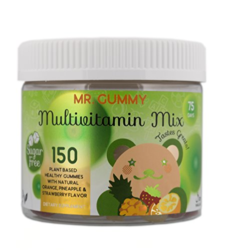 Mr Gummy Vitamins Sugar Free Multivitamin Mix Supplement | Natural Fruit Flavored Gummies for Healthy Brain, Heart, Skin and Eyes | [150 Gummies, 75-Day Supply] | Kids Vitamins
