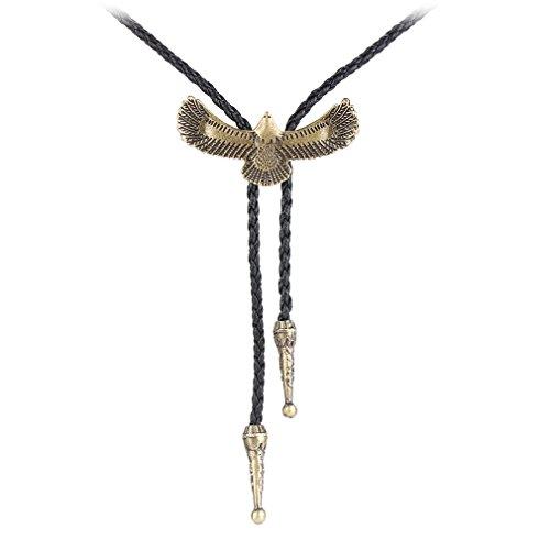 JOYMIAO Eagle Boro Tie Men Women Native American Western Leather Necklace Cowboy Neckties