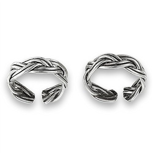 Shiny Celtic Earrings - Celtic Double Braid Endless .925 Sterling Silver Twist Ear Cuff Earrings