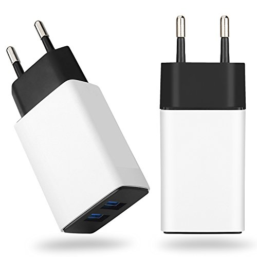 European Adapter, WITPRO 2-Pack 2.1A/5V Dual USB Port EU Travel Europe Wall Charger Power Plug for iphone 7/6S Plus, Samsung Galaxy S8 S7 S6 Edge, Note 4/5, HTC, Moto, LG G6 G4 G5, Android Cell Phone