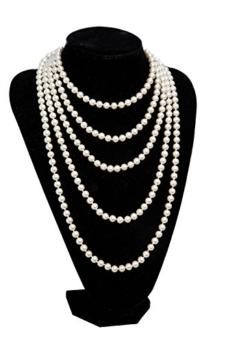 1920s Pearls Necklace Gatsby Accessories Vintage Costume Jewelry Faux Ivory Pearl Cream Long Necklace for Women (A-White-1) (Nice White Pearl Necklace)