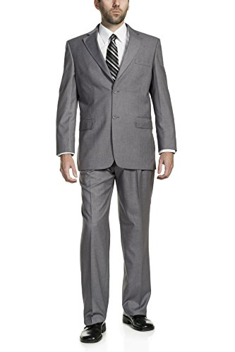P&L Men's Two-Piece Classic Fit Office 2 Button Suit Tuxedo Blazer Jacket & Pleated Pants Set Gray ()