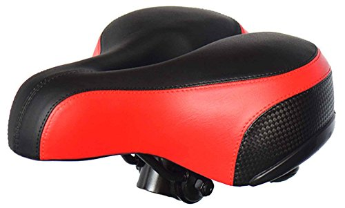 TB Wider Thicker Soft Bike Saddle Seat Newest Cycling MTB Bike Saddle Cushion Mountain Bike Saddle Sette With Red Safety Reflective Tape Leather Bike seat Saddle With Wrench & Cover Womens Air Gel Carbon