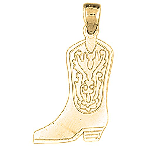 18K Yellow Gold Cowboy Boots Pendant - 26 mm by JewelsObsession
