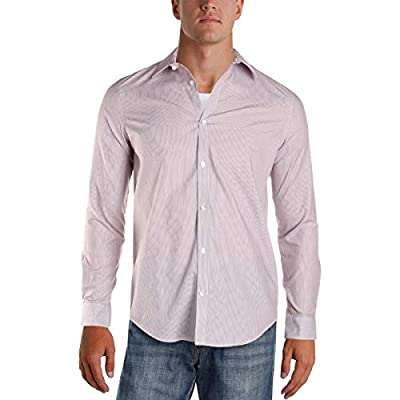 Calvin Klein Men's Long-Sleeve Woven Button Down Stripe Shirt