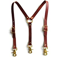 High-Waisted Chestnut Leather Suspenders with Brass Hardware - Y-Back Style