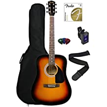 Fender FA-100 Dreadnought Acoustic Guitar - Sunburst Bundle with Gig Bag, Tuner, Strings, Strap, and Picks