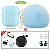 cuauco 2019 Newest AirPods Case Glow in The Dark with Fur Ball Keychain