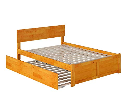 Atlantic Furniture Orlando Platform Bed with Twin Size Urban Trundle, Caramel