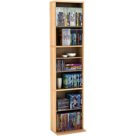 Elegant Media Storage Cabinet, Maple Elegant Design Eight Adjustable Shelves Plus Two Fixed Shelves Durable Frame Supports High Capacity Wall Anchors Included