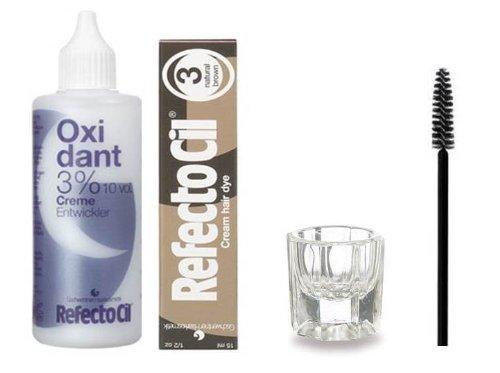 Refectocil KIT - Natural Brown Cream Hair Dye + Creme Oxidant 3% 3.4oz + Mixing Dish + Mascara Brush