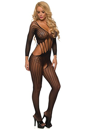 Velvet Kitten Sexy Love Bound Open Crotch Bodystocking WY8002 (One Size fits most, (Black Bodystocking)