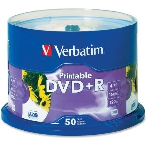 Verbatim 16x DVD+R Media - 4.7GB - 50 Pack - 95136 from Verbatim