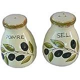 French Inspired Ceramic Olive Design Salt (sel) and Pepper (poivre) Shaker Set - Cream