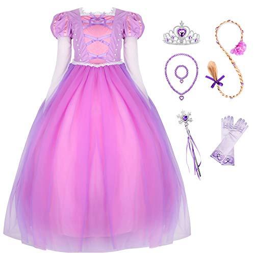 (Long Hair Costume Princess Rapunzel Generic Dress Up with Long Braid and Tiara for Girls)