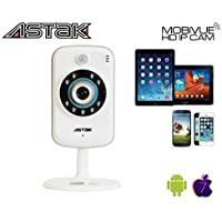 Astak Mobivue 100 Megapixel HD 1280 x 720p H.264 Wireless/Wired/IP/Network Cloud Base Camera with Two-Way Audio, IR-Cut Filter Night Vision, Motion Detection, Built-In DVR and 2.8mm Lens (100° Viewing Angle) Plug and Play. Apple/Mac/Android/Windows compatible - Piano White (P#: CM-MV100)