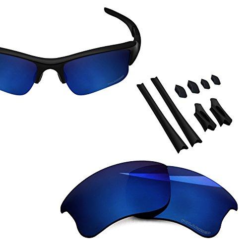 (BlazerBuck Anti-salt Polarized Replacement Lenses & Sock Kit for Oakley Flak Jacket XLJ - Midnight Blue)