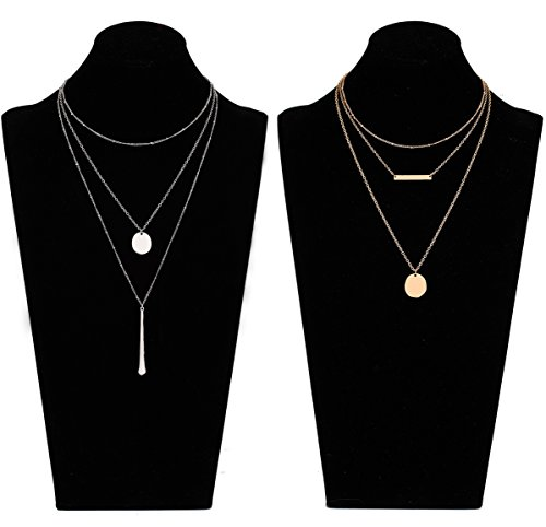 LIAO Jewelry 2 Pcs Bohemia Layered Necklace Set Multilayer Choker Necklaces Simple Coin Bar Pendant Station Chain Necklace for Women (Gold + ()