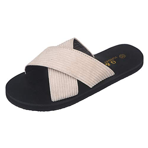 Flat Slippers for Women,✔ Hypothesis_X ☎ Rome Beach Flat Sandals Summer Open Toe Slide Slippers Beige