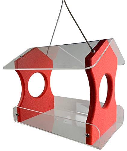 JC's Wildlife Red Recycled Poly Lumber Hanging Bird Feeder (Red)