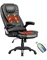 Advwin 8 Point Massage Office Chair, Ergonomic Adjustable Executive Home Computer PU Chair, with Headrest, Black