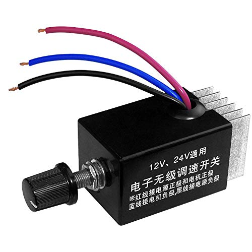 DC Motor Speed Controller Universal DC 12V 24V 10A Electronic Stepless Speed Regulator Switch for Car Truck Fan Heater Control 10 Amp Speed Controller