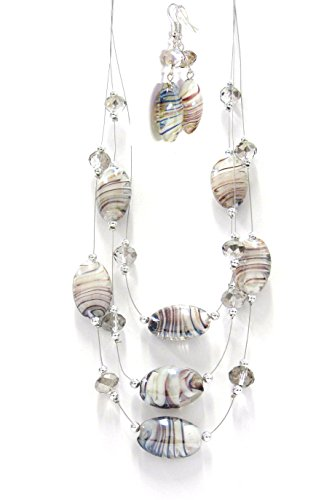 Linpeng Necklace & Earrings Jewelry Set/Mauve, Gold Glittered Swirl White Lampwork & Crystal Beads/Necklace Length 21