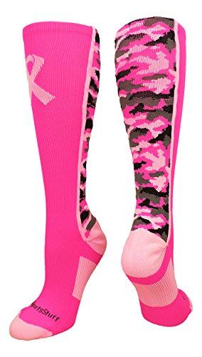 Pink Ribbon Awareness Camo OTC Socks (Neon Pink/Pale Pink, Large)