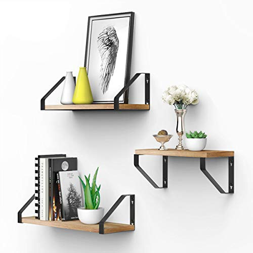 - Homemaxs Floating Shelves Wall Mounted Set of 3, Natural Rustic Solid Wood Wall Shelves with Extra Wide Panel for Bedroom, Living Room, Bathroom, Kitchen