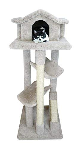 Pagoda Cat Tree - New Cat Condos 110206-Neutral Color Solid Wood Cat House, Neutral, Large