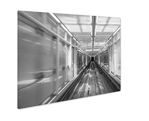 (Ashley Giclee Washington USA August 21 2017 Railways Of Washington Dc Metro Station Interior, Wall Art Photo Print On Metal Panel, Black & White, 8x10, Floating Frame, AG6559258)