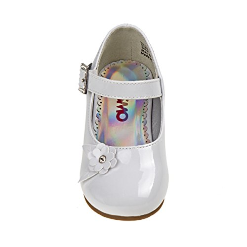 Shoes Buckle White Dress Heel Josmo Girls Rhinestone Kid Toddler Low Flower Little YwPIWqp