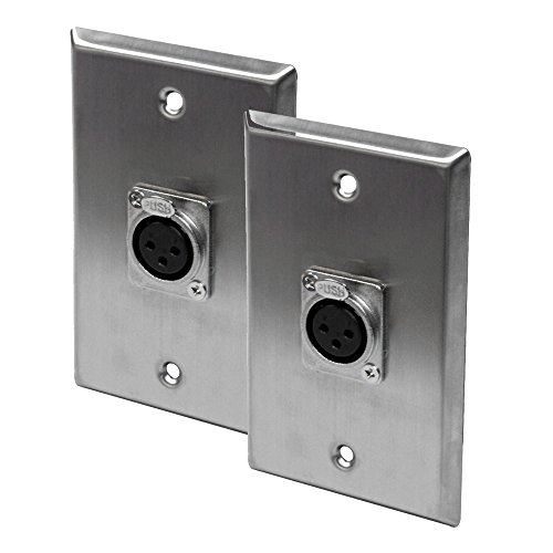 Seismic Audio - SA-PLATE12-2Pack - Pair of Stainless Steel Wall Plates - One XLR Female Connector Single Gang ()