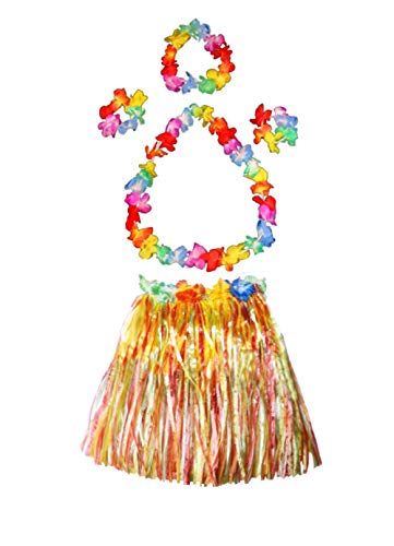 Kid's Elastic Hawaiian Hula Dancer Grass Skirt with Flower Costume Set -Multi-color